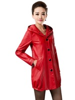 2014 Fall New Middle-aged Genuine leather jacket , Plus Size Hooded Mothers Slim leather Trench L-XL-2XL-3XL-5XL