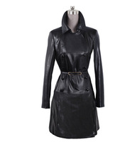 New Arrival European and American Women Long Section Leather Slim Jacket for Spring and Autumn, Fashion Street Wear Overcoat