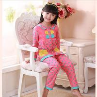 Children Kids Pajama Sets Knitted Cotton Pajamas for Girl Long Sleeve Clothing Set Dot Nightwear Sleepwear Free Shipping