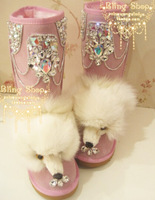 Fashion fox head snow boots. Handmade rhinestone Luxury sexy pearl snow boots. Diamond tassel Women's Shoes Winter Leather Boots