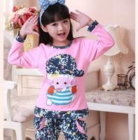 Peppa Pig Pajama Sets Knitted Cotton Print Pajamas for Girls Long Sleeve Clothing Set Nightwear Sleepwear Free Shipping