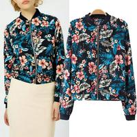 [B-1491] Free shipping 2014 new women flower jacket  Fashion Zipper Long Sleeve Lady  Printed  jackets