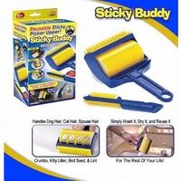 Sticky Buddy Roller Brush Picker  Reusable Sticky Picker Upper With Built-in Fingers Lint Roller Pet dog cat Hair Remover Brush
