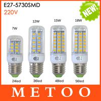 Ultra Bright SMD 5730 E27 LED lamps 7W 11W 15W 18W AC 220V 360 degree light LED Corn Bulb Chandelier 24LED, 36LED, 48LED, 56LED