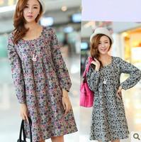 6544 women dresses   fashion, Korean version of dress, long sleeve beach dress, printed dress,YD001 6544