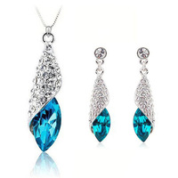 Purple 100% Silver 925 AAA Jewelry Sets for Women Blue Conch Sets Solid Silver Free Shipping