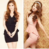 6544   Women dresses  fashion, Nightclubs, Korean, elegant and sexy, stitching, lace package hip Dovetail  YD007 6544