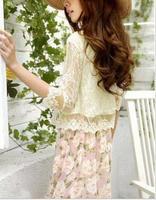 happy SZ   Fashion Women Blouses skinny shoulder pad precious mosaic lace shirt cardigan   shirt air-conditioning  ks0051