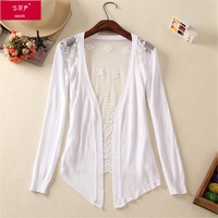 6544 sweater knitting coats blouses for tops casual and lace dress Cardigan Hollow out lace sweater ks0028 6544