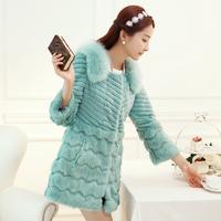 Promotion 2014 Genuine Rabbit Fur Coat Long Natural Rabbit Fur Jacket Women Winter Rabbit Fur Waistcoat Plus Size For Sale