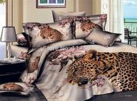New Beautiful 4PC 100% Cotton Comforter Duvet Doona Cover Sets FULL / QUEEN / KING SIZE bedding set 4pcs leopard & flower