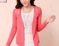 happy SZ   v-neck Hook flower unlined upper garment Cardigan Sweater Casual Slim Cotton Solid Knitwear Coat ks0034