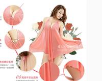 Women sexy Lingerie underwear purple lace Silk fun set Deep V Neck Sleepwear Skirt Free Shipping