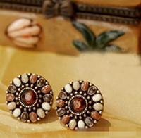 Popular retro lovely delicate drip set auger flowers stud earrings