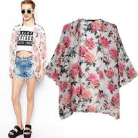 2014 Vintage Ethnic Cotton Floral Print Kimono Cardigan Slim Maxi Shirt Blouse Chiffon Sunscreen Kimono Jacket Batwing Sweater