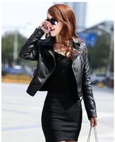 2014 spring and autumn leather jacket slim plus size women's leather clothing coat slim short design leather jacket women