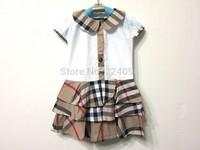 Free shipping 2014 High Quality Summer fashion  plaid dress  girls denim dress 2 colors  1-5years old