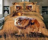 New Beautiful 4PC 100% Cotton Comforter Duvet Doona Cover Sets FULL / QUEEN / KING SIZE bedding set 4pcs wild lion tiger