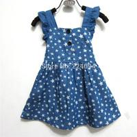 Free shipping 2014 High Quality Summer fashion denim  dresses brand girls denim dress star design baby dress 1-5years old