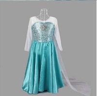 new design free shipping girl girls cosplay costume costumes dress party dress dresses blue long sleeved 10 pcs/lot