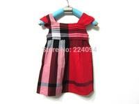 Free shipping 2014  buautiful girls  dress   fashion 1-12 years old girls dress England plaid baby dress 4 colors