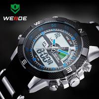 3ATM WEIDE Men Sports Watch Back light multi-purpose Waterproof Japan Quartz Wristwatch Analog Digital Watch 1 Year Guarantee