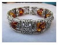 Fine Tibet silver amber bracelet bangle