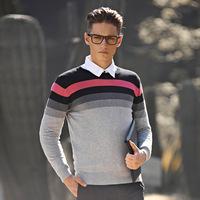 Autumn and winter sweater stripe male slim casual o-neck pullover Men tencel sweater