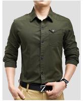 2014 New Men's Shirt Autumn Full Sleeve Men Blouse with Pocket  Slim Army Green & Khaki Cotton Casual Shirt Plus Size M-4XL