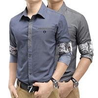2014 Spring & Autumn Men's Clothing New Full Sleeve Men Shirt Fashion Slim Casual Blouse For Gentlemen Plus Size M-XXXL
