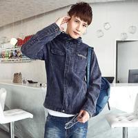 Men's latest fashion classic-fitting denim jacket men's Korean Slim Hooded Jacket