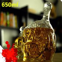 1 Piece 650ml Zombie Head Decanter Bottle/ Zombie Wine Glass Bottle,Skull Wine Bottle,Free Shipping