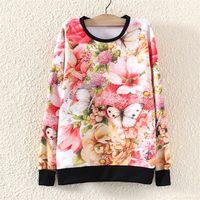 2014 Fashion Harajuku Autumn Winter Women Hoody Hoodie Floral Printed Sweatshirt Pullover Sport Suit Women's Tracksuit Casual