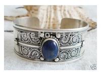 Foire du Tibet Silver inlay Lapis Lazuli Cuff Bracelet
