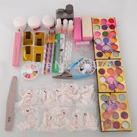 Free shipping Nail Art Kit 42 Acrylic Powder Brushes Sanding File Brush Glue Tips Hot Gift