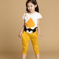 2014 Summer Cute Children Kids Boys Girls Fashion boys Casual  short-sleeve tshirt Soft Slim Garments Blouse + Trouser