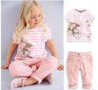 Free shipping 2014 girls pink butterfly lovely kangaroo suit Summer wear suit children's wear