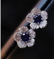 2014 New Fashion Flower Edge Blue Crystal Women Stud Earring SY0183