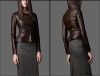 Top Quality Fashion Womens Ruffled Sheepskin Flounced Leather Biker Motorcycle Coat Real Genuine Leather Jacket Free Shipping