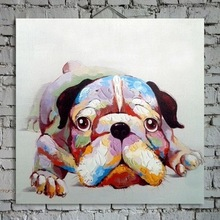 100% Hand painted Oil Paintings Picture Panel Lovely Dog Animal Oil Painting on Canvas for Home Decoration(China (Mainland))