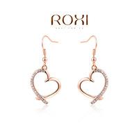 Beautiful gift wholesale Austrian crystal earrings selling jewelry rose gold heart-shaped earrings, two cheaper