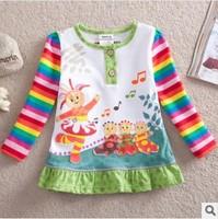 Retail! F3000# 12m-5y nova kids wear in the night garden cotton Baby girl tunic top cartoon clothing,2014 new Free shipping