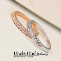 Elegant!!! 18K Rose Gold Plated Austrian Rhinestones Micro Setting Double Row Design Lady Finger Ring Wholesale