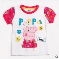 Retail! K4028# 18m/6y 2014 new fashion nova kids tunic top pig embroidery summer short sleeve T-shirt Frre shipping
