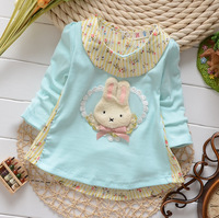T824 Hot Sale New 2014 Baby/Kids Spring/Autumn Clothes, Long Sleeved Cute Rabbit Infant Girls Knitted Cotton Tops/T Shirts F1