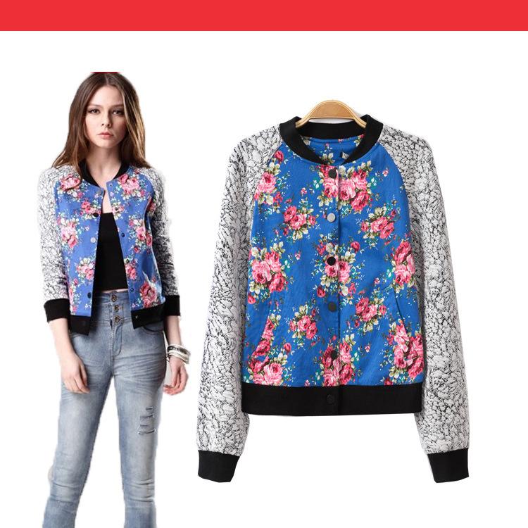 Bomber Jacket Pattern Fashion Flower Bomber Jacket