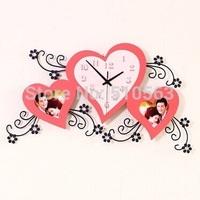 gz026 Free shopping 1pcs Heart-shaped aesthetic creative photo frame wall clock Modern mute fashion wedding gift red wall clock