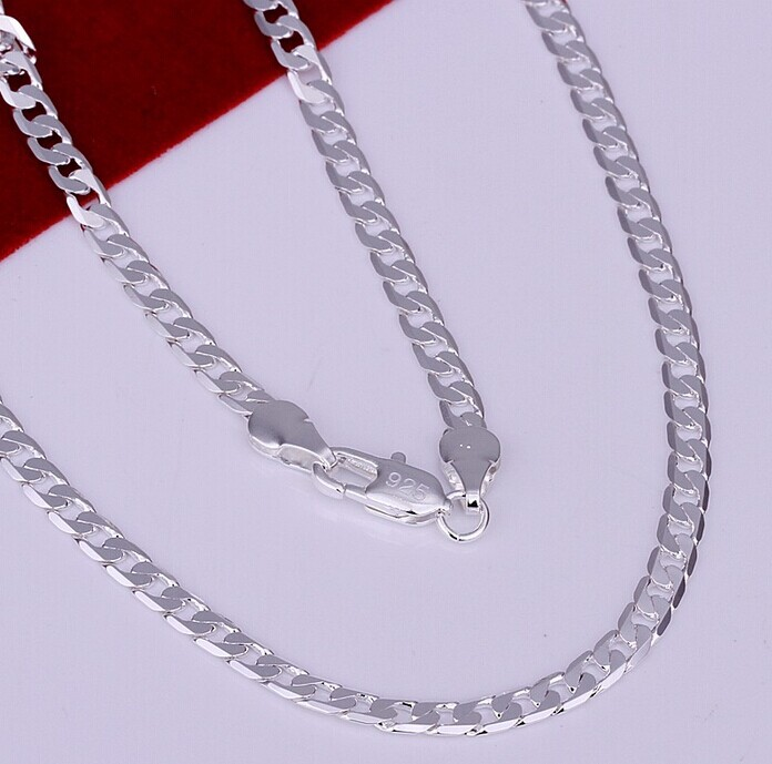 925 N145 Free Shipping Sterling Silver Jewelry Men s Necklace 4mm Figaro Chain Necklace 16 24