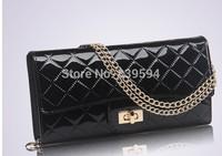 2014 Korean patent leather fashion handbags Quilted Chain Clutch handbags women shoulder diagonal package
