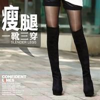 2014 autumn winter female botas de inverno women's overshoe brand Sexy high-heeled pumps platform fleece fabric knee botte boots